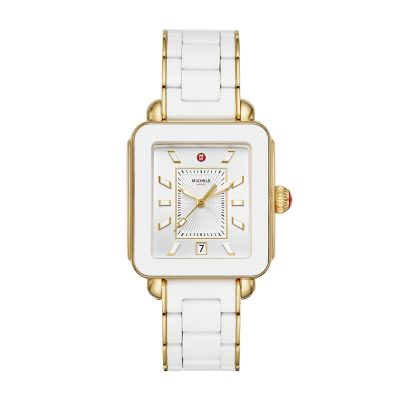 7643624a7 MICHELE® Watches - Deco Sport Gold White Wrapped Silicone Watch
