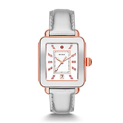 Deco Sport High Shine Two-Tone Pink Gold and Silver Leather Watch