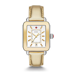 Deco Sport High Shine Two-Tone and Gold Leather Watch