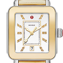 Deco Sport High Shine Two-Tone Mirror Dial Gold Leather Watch