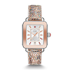 Deco Sport Two-Tone Pink Gold Tone Iridescent Lizard Watch