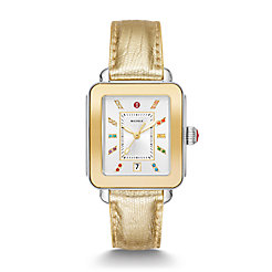 Deco Sport Two-Tone Yellow Gold Tone Gold Lizard Watch