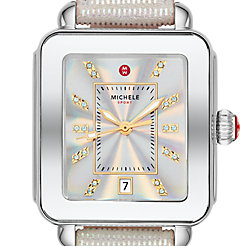 Deco Sport Stainless Topaz Dial Iridescent Leather Watch