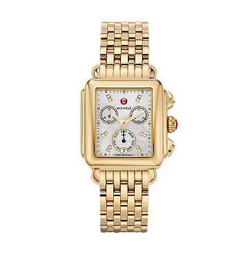 michele 174 watches signature deco gold