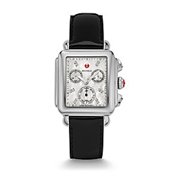 Signature Deco Diamond Dial Black Patent Leather Watch