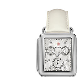 Signature Deco Diamond Dial Silver Patent Leather Watch