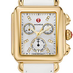 Signature Deco Gold Diamond Dial White Patent Leather Watch