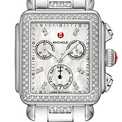 Signature Deco Diamond, Diamond Dial 3-Link Diamond Bracelet Watch