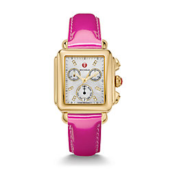 Signature Deco Gold Diamond Dial Pink Patent Leather Watch