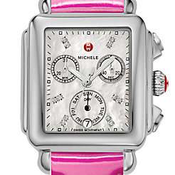 Signature Deco, Diamond Dial Pink Patent Watch