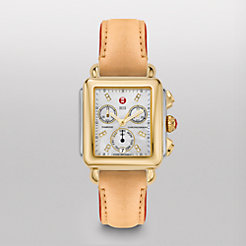 Signature Deco Two-Tone, Diamond Dial Tan Fashion Leather Watch