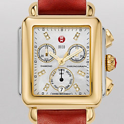 Signature Deco Two-Tone, Diamond Dial Red Fashion Leather Watch