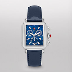 Deco, Blue Diamond Navy Patent Watch