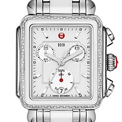 Deco Diamond White Ceramic Combo White Ceramic Combo Bracelet Watch