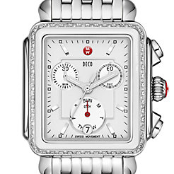 Deco Diamond White Ceramic Combo Bracelet Watch
