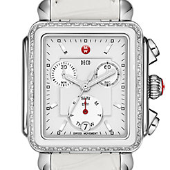 Deco Diamond White Ceramic Combo on White Alligator Watch