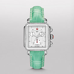 Deco Diamond White Ceramic Combo on Seafoam Alligator Watch