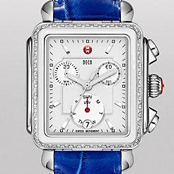 Deco Diamond White Cermaic Combo on Blue Alligator Watch