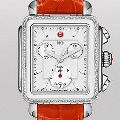 Deco Diamond White Cermaic Combo on Medium Orange Alligator Watch