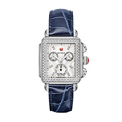 Signature Deco Diamond, Diamond Dial Navy Alligator Watch