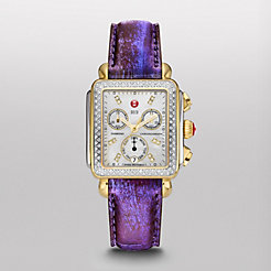 Signature Deco Diamond Two-Tone, Diamond Dial Purple Fashion Snake Watch