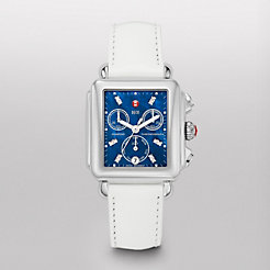 Deco, Blue Diamond Dial White Patent Watch