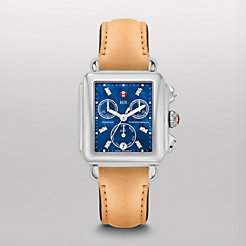 Deco, Blue Diamond Tan Leather Watch