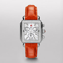 Signature Deco Diamond, Diamond Dial Orange Alligator Watch