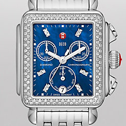 Deco Diamond, Blue Diamond Dial Watch