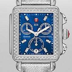 Deco Diamond, Blue Diamond Dial Metallic Chrome Leather Watch