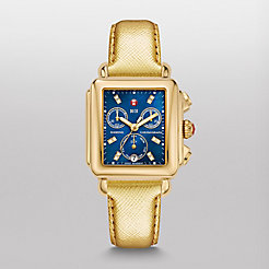 Deco Gold, Blue Diamond Dial Metallic Gold Leather Watch