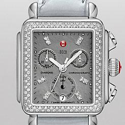 Deco Diamond, Grey Diamond Dial Pastel Blue Alligator Watch