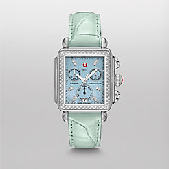 Deco Diamond, Blue Diamond Dial Pastel Green Alligator Watch