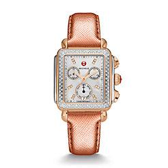 Deco Diamond Two-Tone Rose Gold, Diamond Dial Rose Gold Saffiano Watch