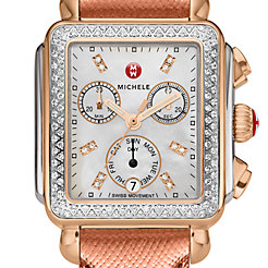 Signature Deco Diamond Two-Tone Rose Gold, Diamond Dial Rose Gold Saffiano Watch