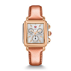 Signature Deco Two-Tone Rose Gold, Diamond Dial Rose Gold Saffiano Watch