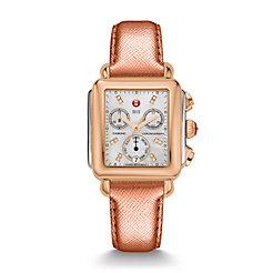Signature Deco Two-Tone Rose Gold, Diamond Dial Rose Gold Saffiano Watch