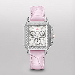 Signature Deco Diamond, Diamond Dial Pastel Purple Alligator Watch