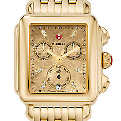 Deco, Gold Metallic Diamond Dial Watch