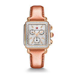 Signature Deco Diamond Two-Tone Rose Gold, Diamond Dial Rose Metallic Alligator Watch