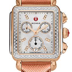 Signature Deco Diamond Two-Tone Rose Gold, Diamond Dial Rose Metallic Alligator Watch