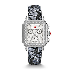 Signature Deco Diamond, Diamond Dial Grey-Black Glitter Watch