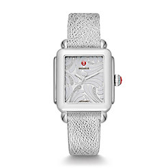 Deco Swan, Diamond Dial Silver Leather Watch