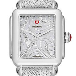 Deco Swan, Diamond Dial Silver Leather Watch
