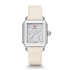 Deco Swan, Diamond Dial White Saffiano Watch