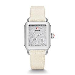Deco Swan, Diamond Dial White Saffiano Watch