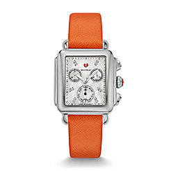 Signature Deco Diamond Dial Orange Saffiano Watch