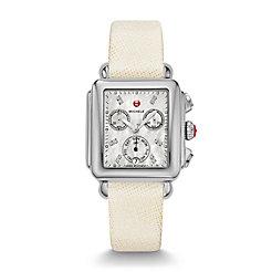 Deco Diamond Dial White Saffiano Watch