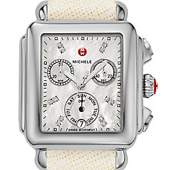 Signature Deco Diamond Dial White Saffiano Watch