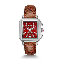 Deco, Red Diamond Dial Chestnut Leather Watch